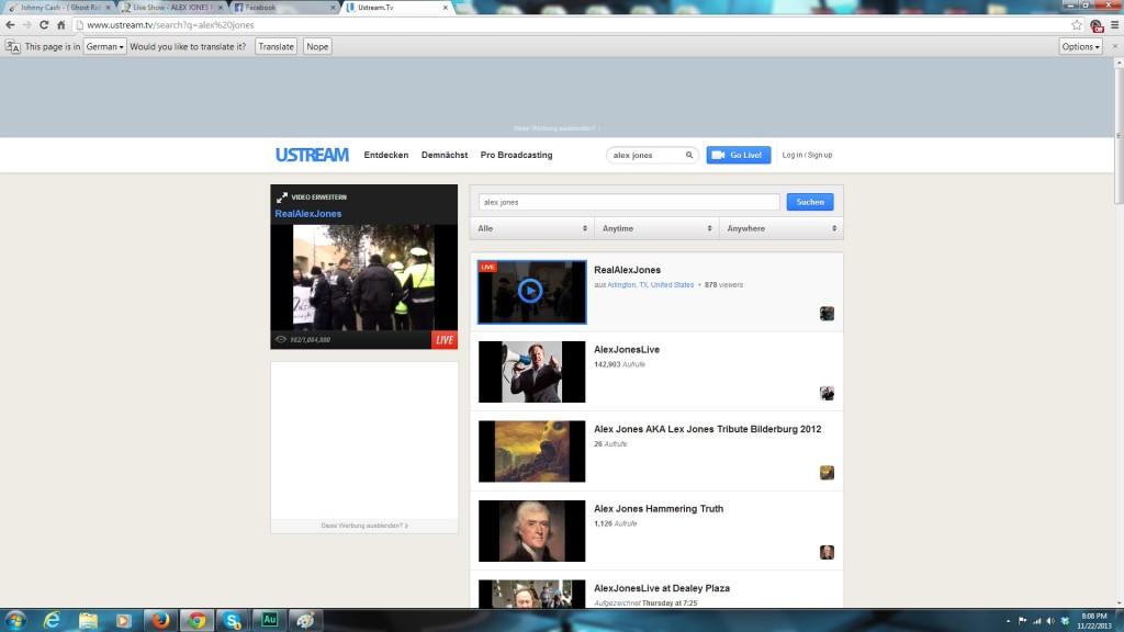 Screenshot of Alex Jones One Million Viewers on You Stream